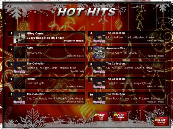 Christmas Theme skin displaying the Hot Hits Page