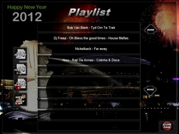 New Year 2012 skin on the Playlist Page